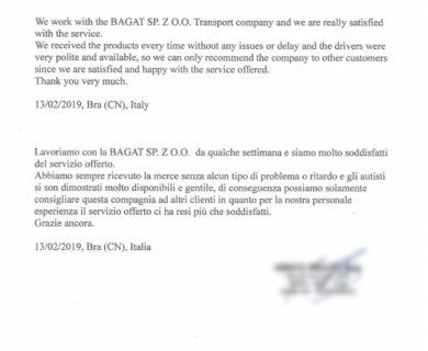 Отзыв клиента из Италии о транспортной компании BAGAT