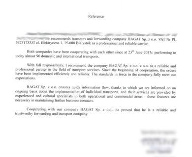 Отзыв клиента о транспортной компании BAGAT - 13